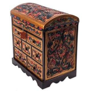 Handmade Cedar and Leather Jewelry Box, 'Shimmering Eagle' (Peru)