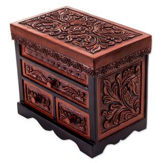 Handmade Cedar and Leather Jewelry Box, 'Symbolic Leaves' (Peru)