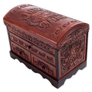 Cedar and Leather Jewelry Box , 'Imposing Hawk' (Peru)