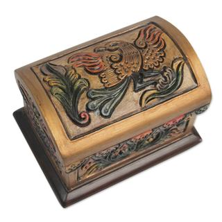Cedar and Leather Jewelry Box, 'Golden Condor' (Peru)