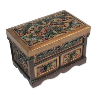 Cedar and Leather Jewelry Box, 'Lovebirds' (Peru)