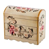 Handmade Chest of Drawers, 'Rose Bouquet' Jewelry Box (Peru)