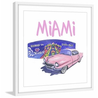 Marmont Hill - 'Pink Cadillac 2' Framed Painting Print