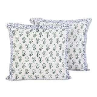Pair Cotton Cushion Covers, 'Garden Green' (India)