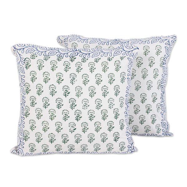 Handmade Pair Cotton Cushion Covers, 'Garden Green' (India)