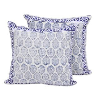 Pair Cotton Cushion Covers, 'Lapis Vines' (India)