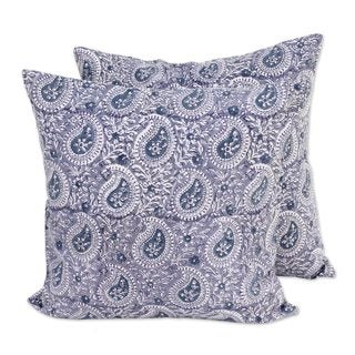 Pair Cotton Cushion Covers, 'Slate Paisleys' (India)