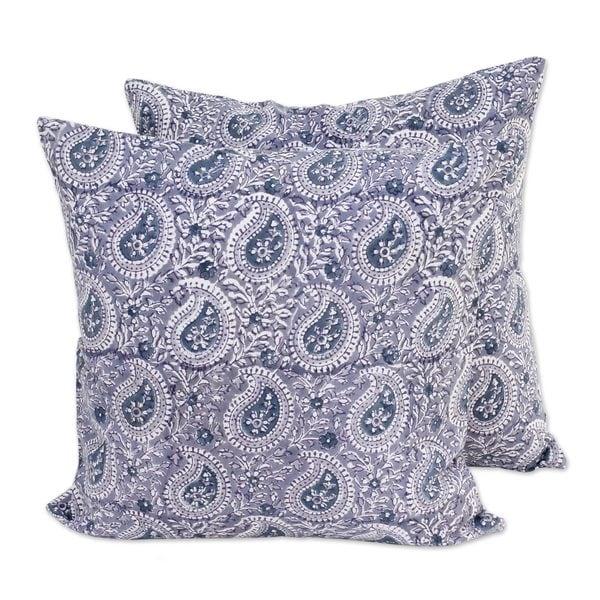 Handmade Pair Cotton Cushion Covers, 'Slate Paisleys' (India)