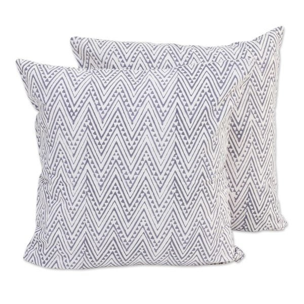Handmade Pair Cotton Cushion Covers, 'Slate Zigzags' (India)