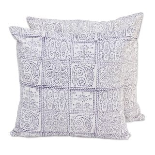 Handmade Pair Cotton Cushion Covers, 'Violet Windows' (India)