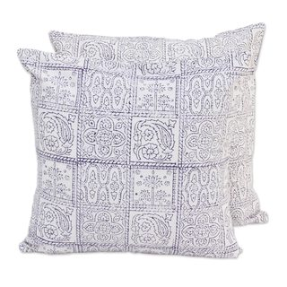 Pair Cotton Cushion Covers, 'Violet Windows' (India)
