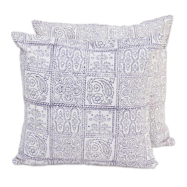 Handmade Pair Cotton Cushion Covers, 'Violet Windows' (India)