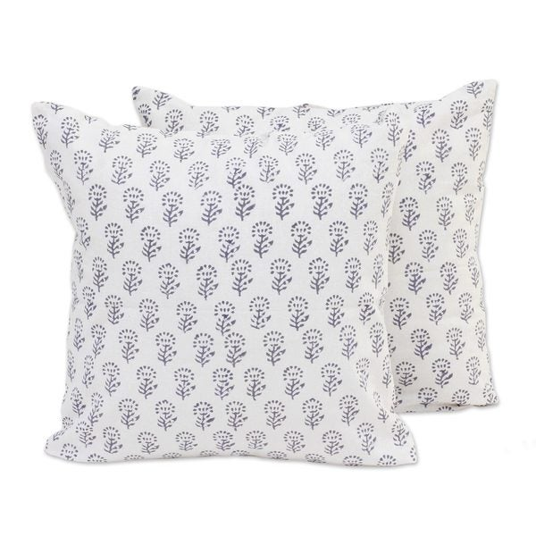 Handmade Pair Cotton Cushion Covers, 'Flowers of Stone' (India)