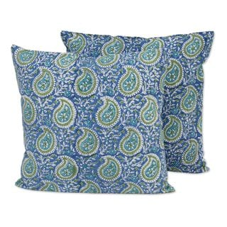 Pair Cotton Cushion Covers, 'Cerulean Paisleys' (India)