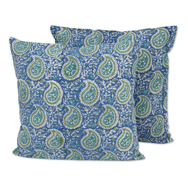 Handmade Pair Cotton Cushion Covers, 'Cerulean Paisleys' (India)