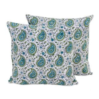 Pair Cotton Cushion Covers, 'Turquoise Paisleys' (India)