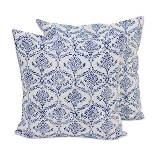 Pair Cotton Cushion Covers, 'Blueberry Vines' (India)
