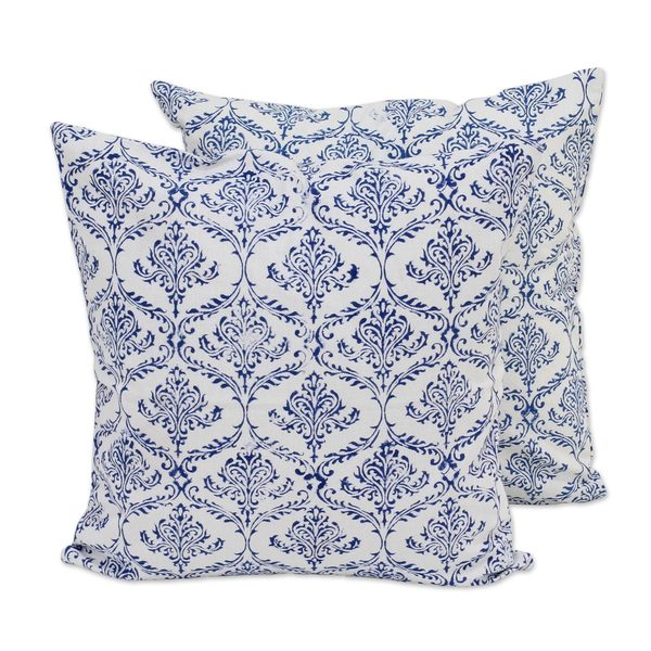 Handmade Pair Cotton Cushion Covers, 'Blueberry Vines' (India)
