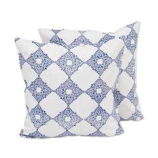 Pair Cotton Cushion Covers, 'Royal Blue Kites' (India)