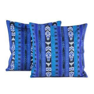 Pair Cotton Cushion Covers, 'Blue Jaspe Tradition' (Guatemala)
