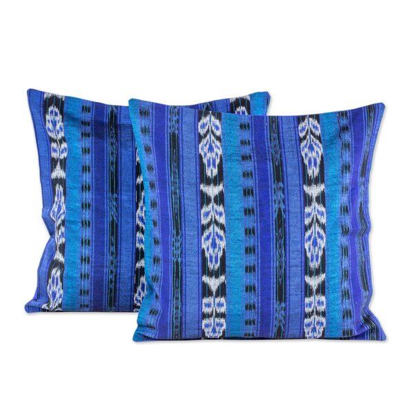 Handmade Pair Cotton Cushion Covers, 'Blue Jaspe Tradition' (Guatemala)