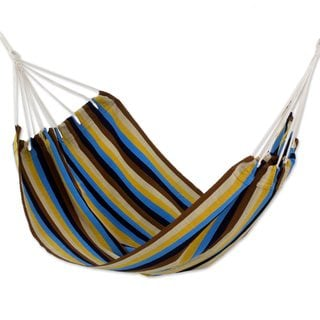 Double Handwoven Hammock, 'Tropical Breeze' (Guatemala)