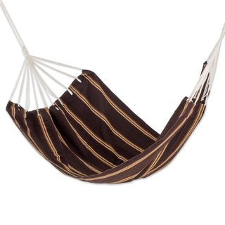 Double Handwoven Hammock, 'Sandy Path' (Guatemala)