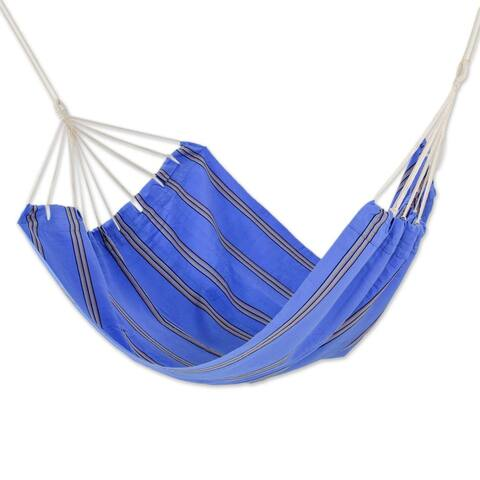 Handmade Double Handmade Hammock, 'Sky and Sea' (Guatemala)