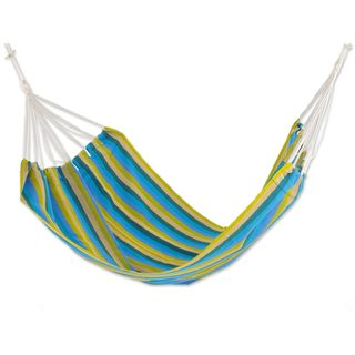 Double Handwoven Hammock, 'Happy Day' (Guatemala)