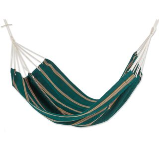 Double Handwoven Hammock, 'Happy Beach' (Guatemala)