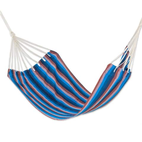 Handmade Single Hammock, 'Beauty of The Lake' (Guatemala)