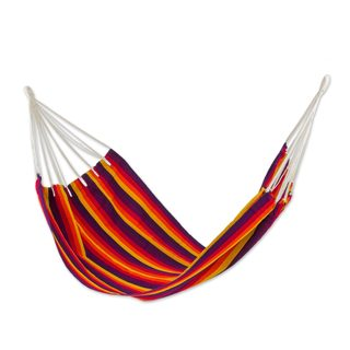 Single Handwoven Hammock, 'Volcanic Flame' (Guatemala)