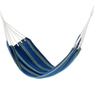 Handmade Single Acrylic Hammock, 'Cloudy Teal Forest' (Guatemala)