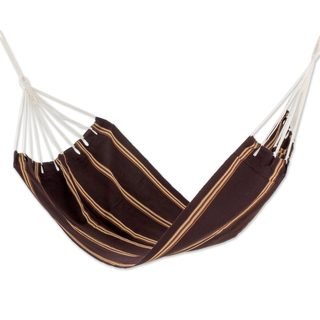 Single Handwoven Hammock, 'Sandy Path' (Guatemala)