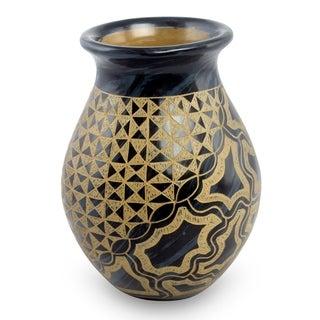 Handmade Ceramic Decorative Vase, 'Rio Coco' (Nicaragua)