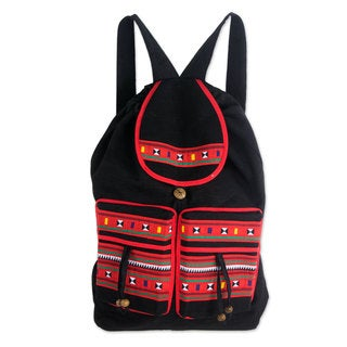 Handmade Cotton Backpack, 'Rainbow Whims' (Thailand)