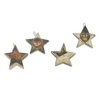 Set of 4 Wood Ornaments, 'Nsruma Sophistication' (Ghana)