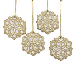 Set of 4 Ceramic Ornaments, 'Golden Snowflakes' (India)