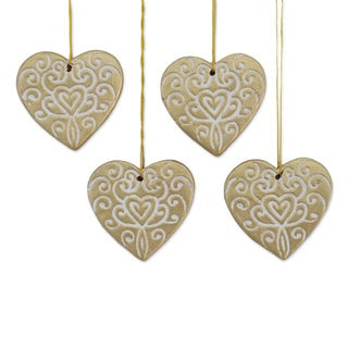 Handmade Set of 4 Ceramic Ornaments, 'Christmas Hearts' (India)