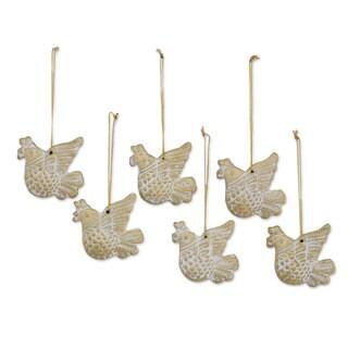Set of 6 Ceramic Ornaments, 'Peaceful Messengers' (India)