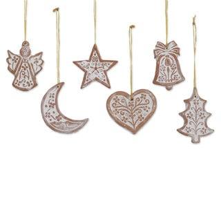 Handmade Set of 6 Ceramic Ornaments, 'Christmas Union' (India)