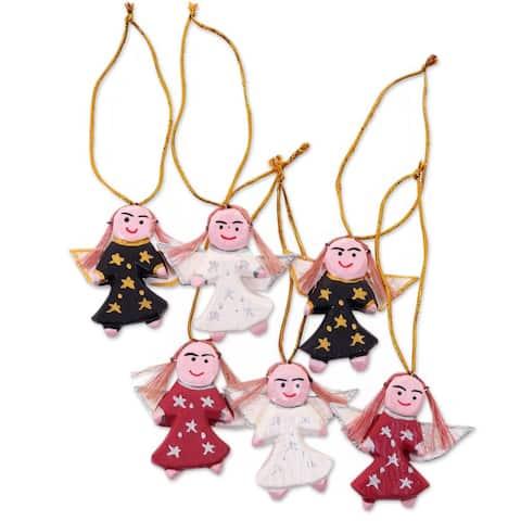 NOVICA Handmade Set of 6 Wood Ornaments, 'Angel Troupe' (Indonesia)