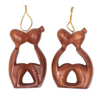 Handmade Pair Wood Ornaments, 'Sweet Kiss' (Indonesia)