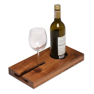 Wood Wine Tray, 'Evening Reverie' (Indonesia)