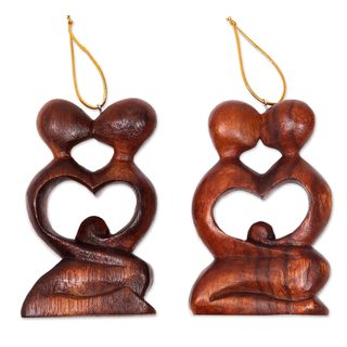 Handmade Pair Wood Ornaments, 'Forever Together' (Indonesia)