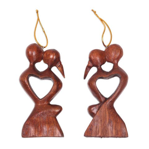 Handmade Pair Wood Ornaments, 'Kissing Heart' (Indonesia)