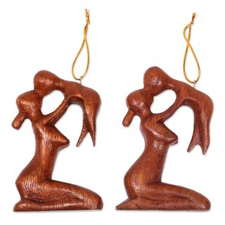 Handmade Pair Wood Ornaments, 'Gentle Touch of A Mother' (Indonesia)