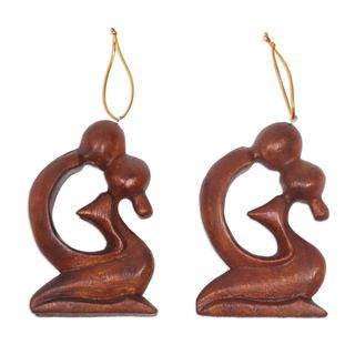 Pair Wood Ornaments, 'A Loving Kiss' (Indonesia)