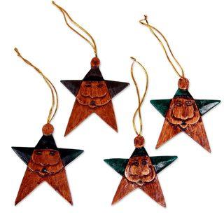 Handmade Set of 4 Wood Ornaments, 'Green Santa Stars' (Indonesia)