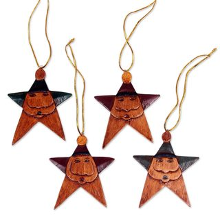 Handmade Set of 4 Wood Ornaments, 'Maroon Green Santa Stars' (Indonesia)